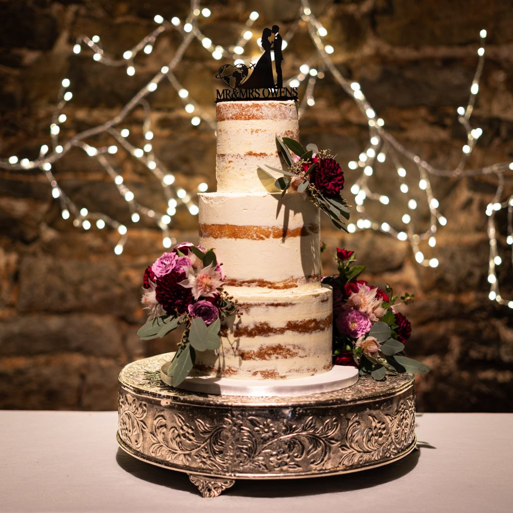 3 tier semi naked wedding cake