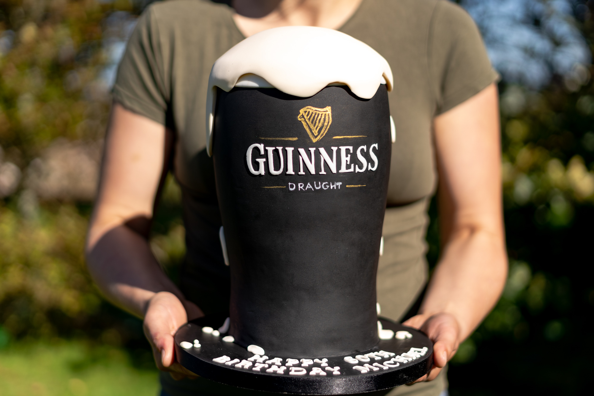 Massive Guinness pint glass birthday cake