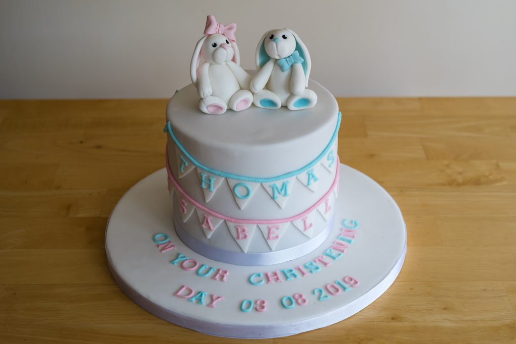 Boy and Girl cute rabbit christening cake