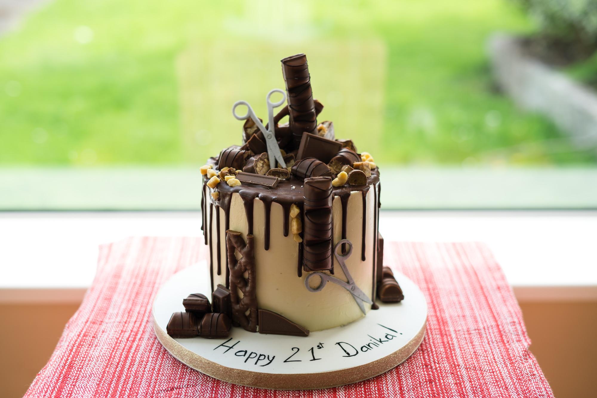 Chocolate drip hairdressers birthday cake