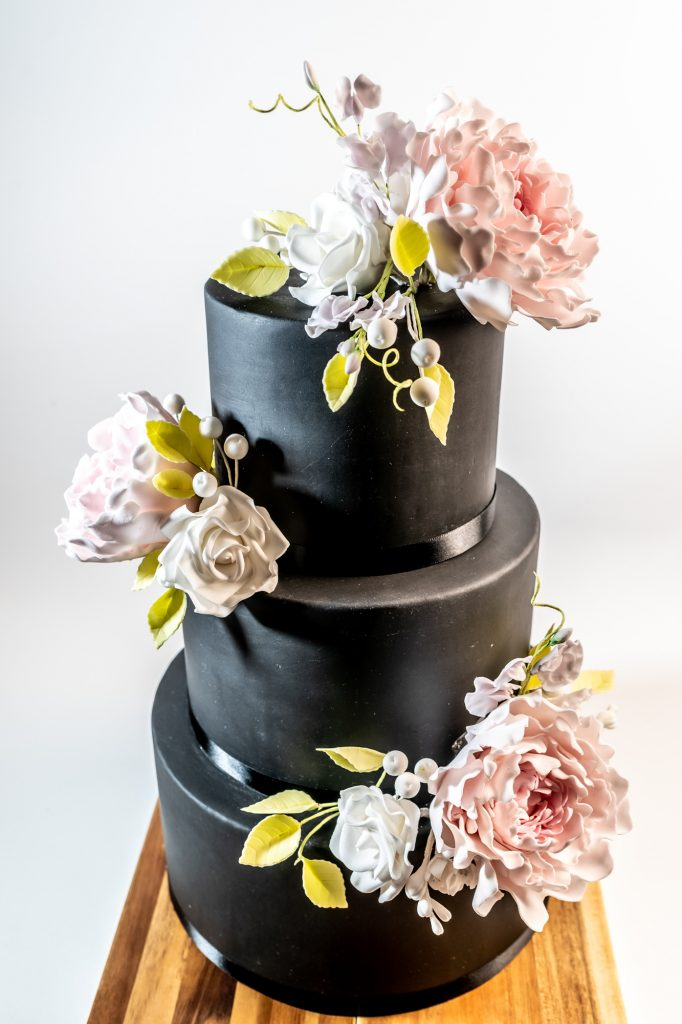 Jet black 3 tier wedding cake