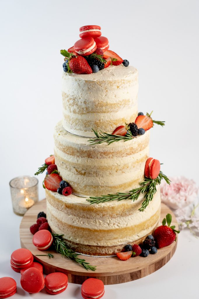 Semi naked 3 tier wedding cake
