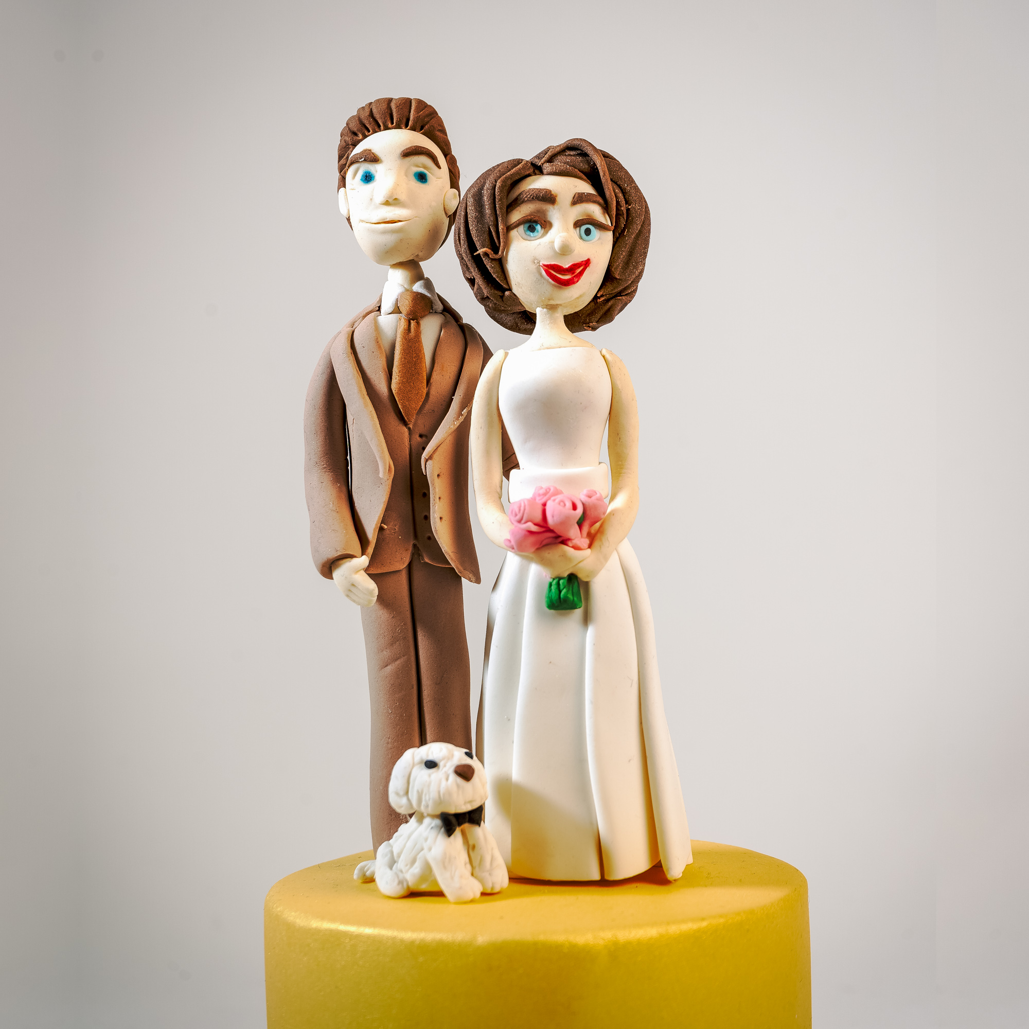 Wedding couple cake topper with doggy