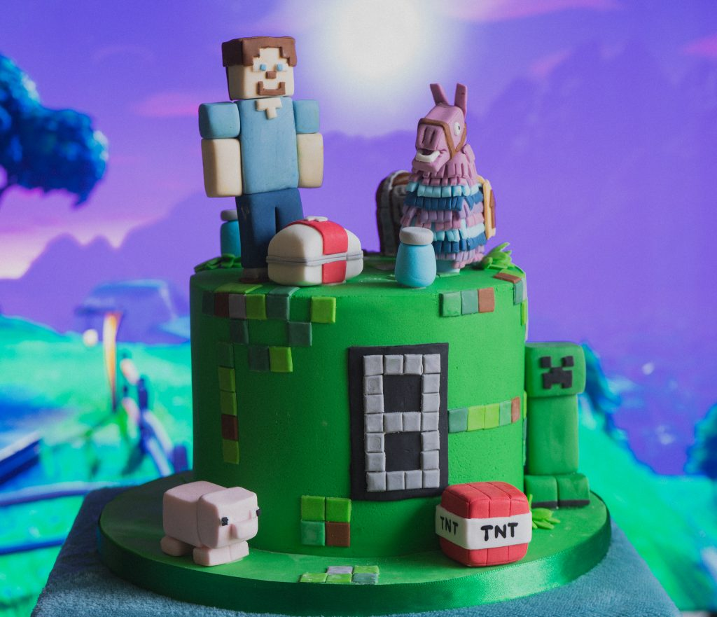 Minecraft and Fortnite birthday cake