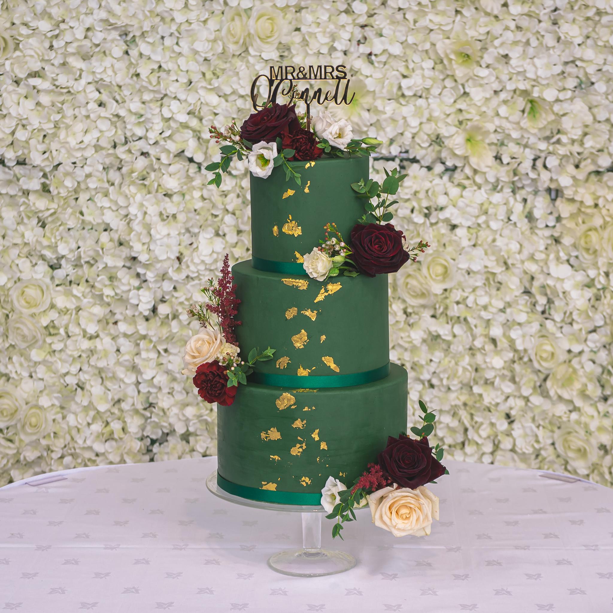 3 tier green gold leaf wedding cake