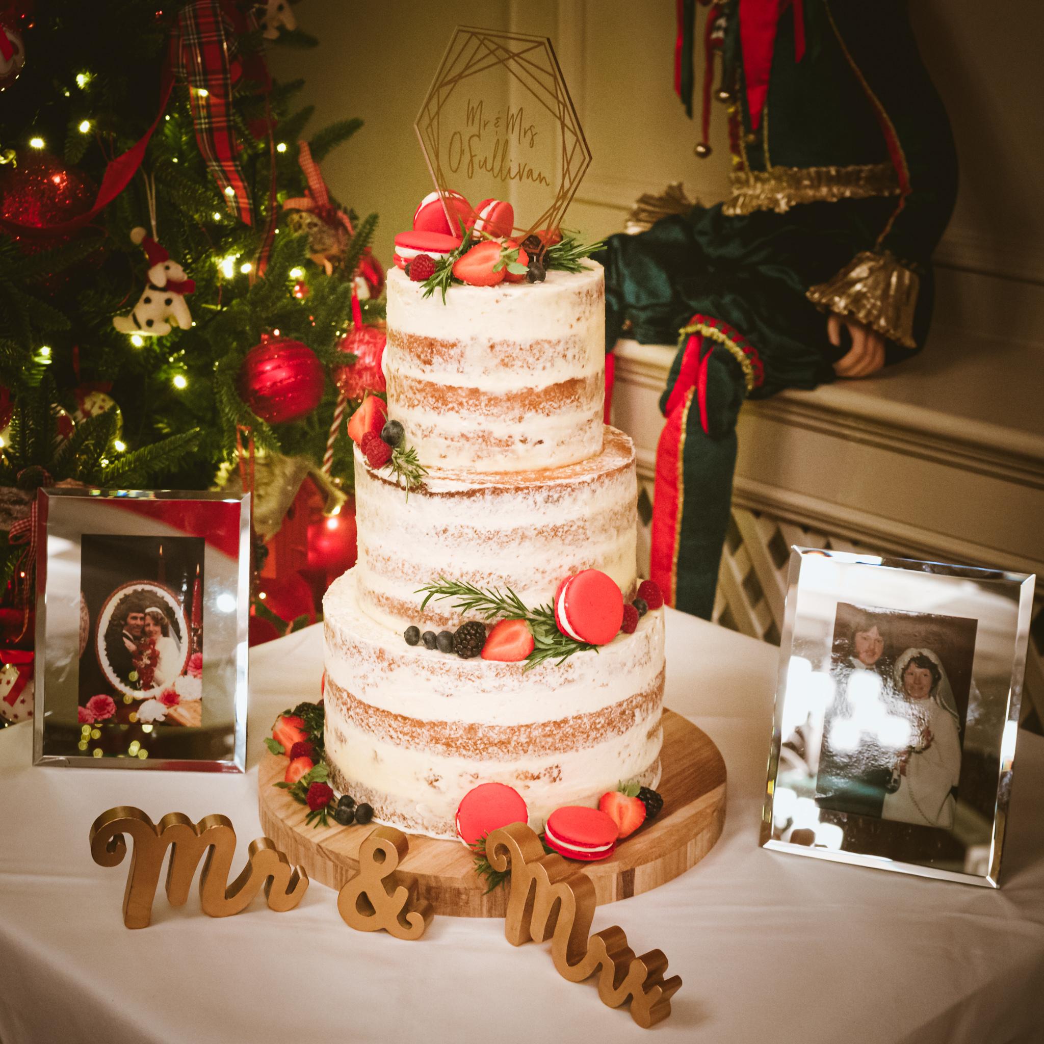 Christmas semi naked wedding cake
