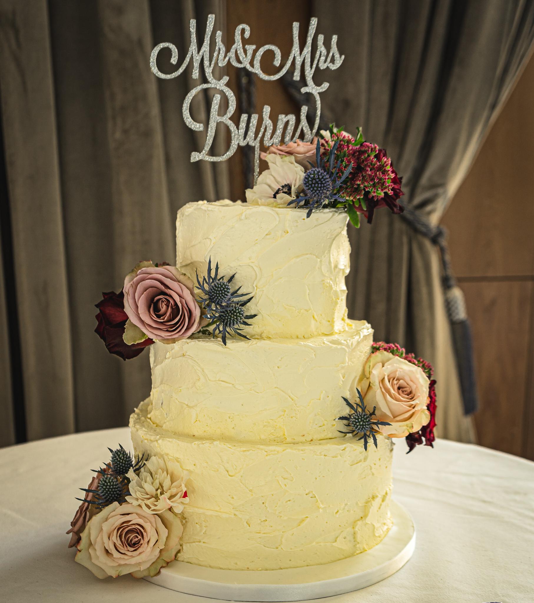 Mr Mrs Buttercream Wedding Cake