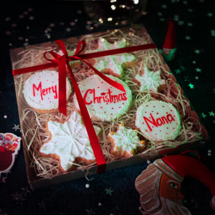 Personalised Christmas snowflake cookies gift box