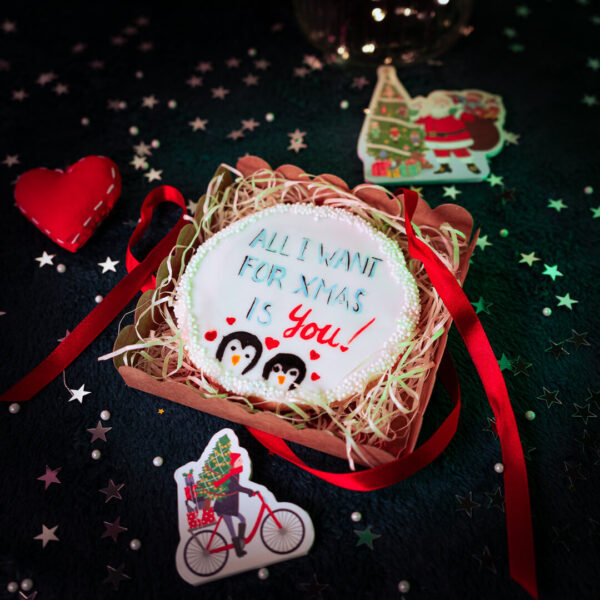 Single personalised Christmas cookie gift open