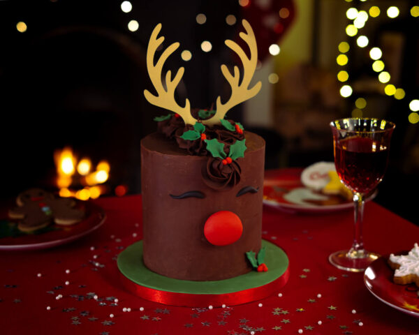 Rudolph red nose reindeer Christmas cake - Rudolph red nose reindeer Christmas cake - Gabi Bakes Cakes
